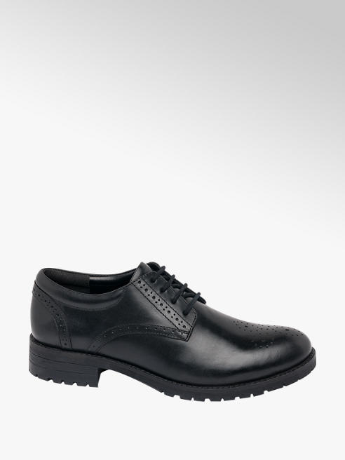 5th Avenue Black Leather Lace-up Brogue