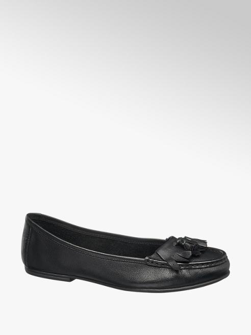 5th Avenue Ladies Black Leather Tassel Loafers