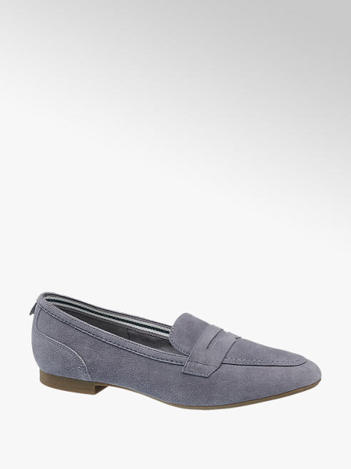 5th Avenue Blue Leather Ribbon Lined Loafers