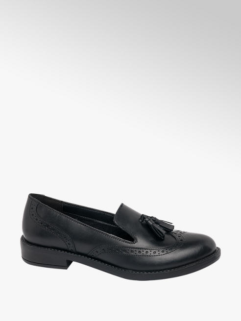 5th Avenue Black Leather Tassel Slip On Loafer