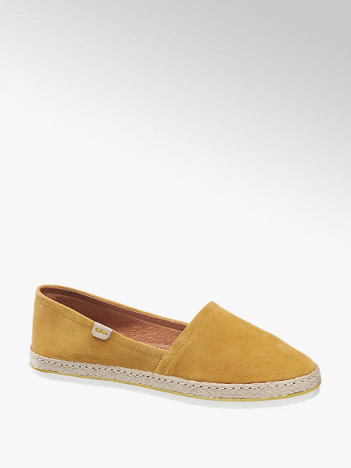 5th Avenue Mustard Leather Slip On Espadrilles