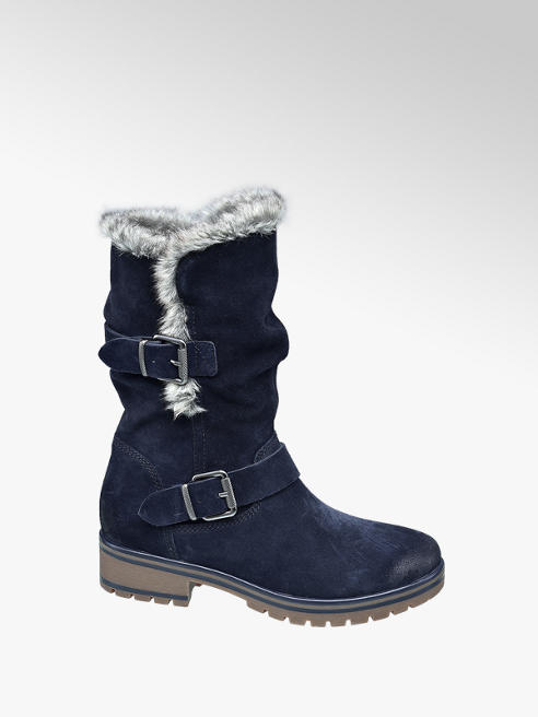 5th Avenue Navy Warm Lined Long Leg Boots