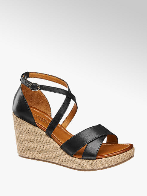 5th Avenue Black Leather Wedge Sandals