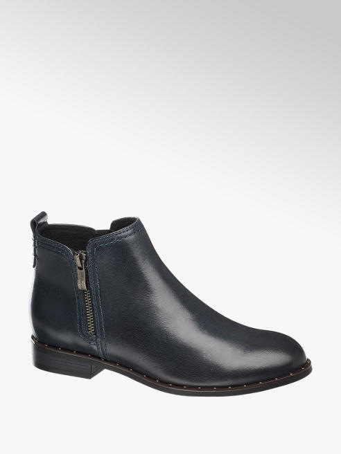 5th Avenue Navy Leather Chelsea Boots
