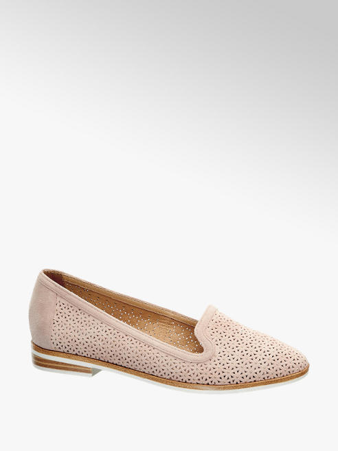 5th Avenue Pink Lazer Cut Floral Gem Loafers