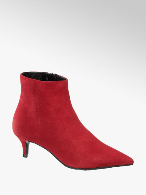 5th Avenue Red Real Suede Kitten Heel Boots