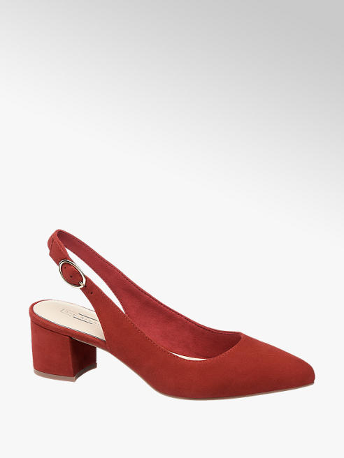 5th Avenue Red Slingback Leather Heels