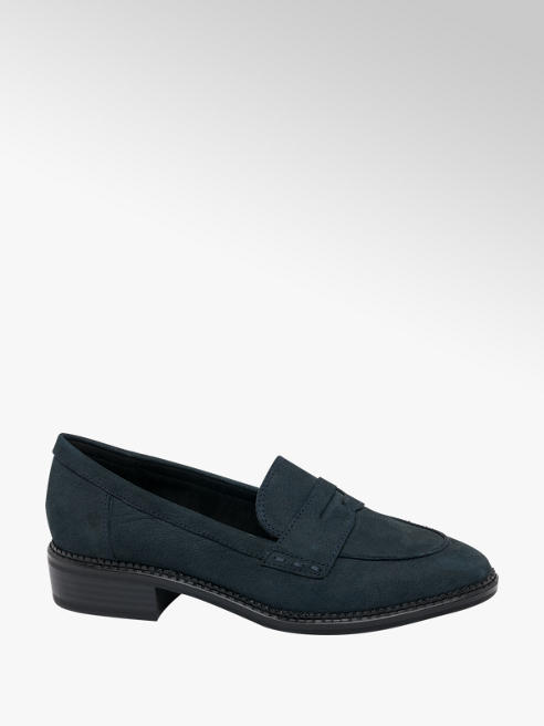 5th Avenue Navy Leather Slip-on Loafers