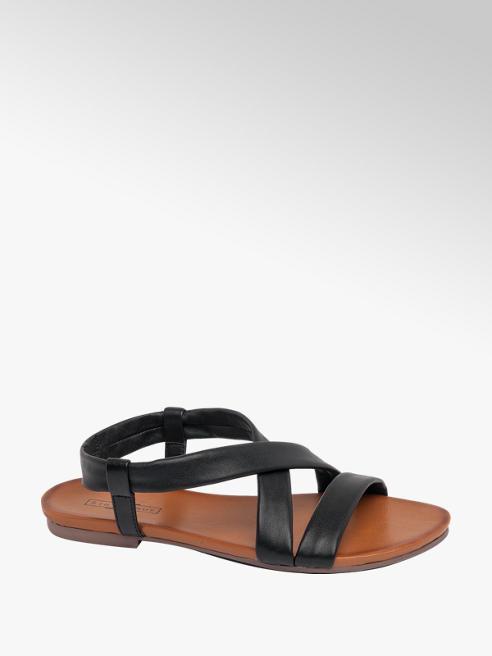 5th Avenue Black Soft Leather Sandals