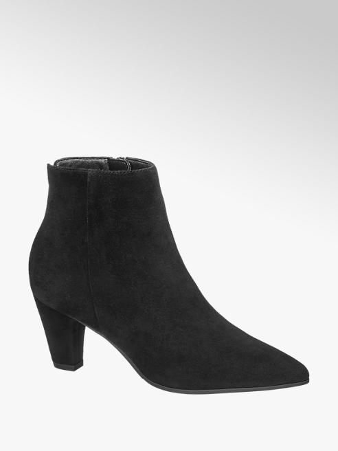 5th Avenue Black Suede Heeled Ankle Boots