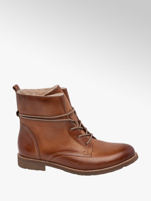 5th Avenue Tan Leather Ankle Boot