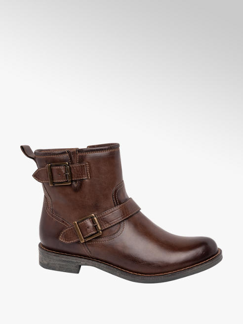 5th Avenue Tan Leather Buckle Detail Ankle Boots