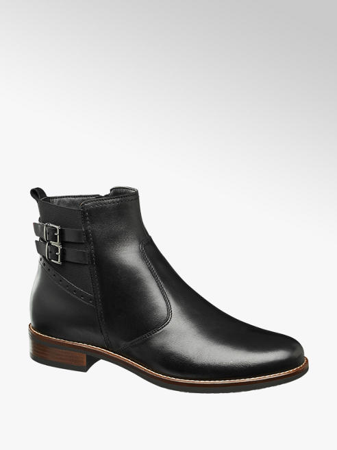 5th Avenue Black Buckle Detail Leather Ankle Boots