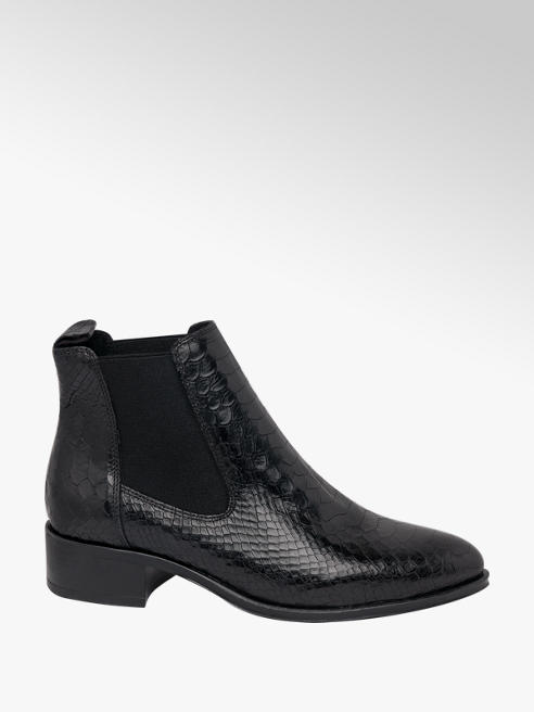 5th Avenue Black Leather Croc Chelsea Boots