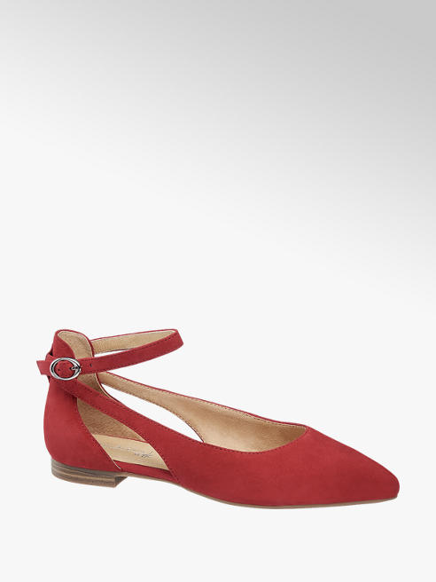 5th Avenue Leder Ballerinas in Rot mit Fessel
