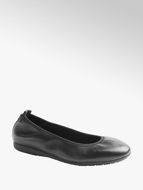 5th Avenue Leder Ballerinas in Schwarz