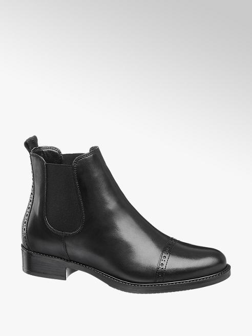 5th Avenue Leder Chelsea Boots in Schwarz mit Lyralochung