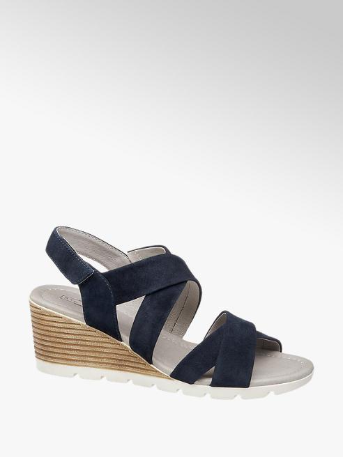 5th Avenue Leder Keil Sandaletten in Blau