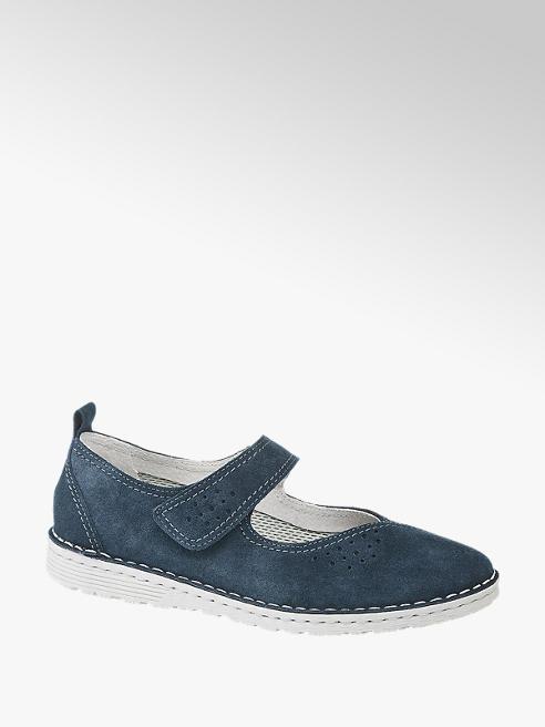5th Avenue Leder Komfort Slipper in Blau mit Klettverschluss