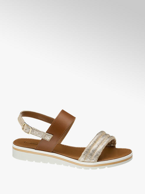 5th Avenue Leder Sandalen in Braun mit Metallic Elementen