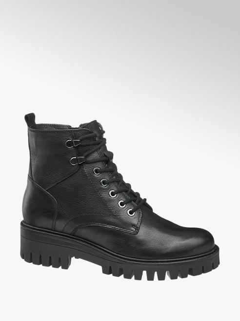 5th Avenue Leder Schnürboots in Schwarz