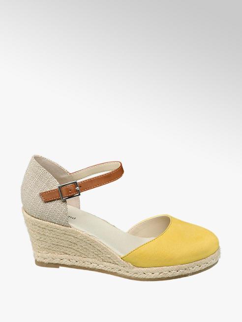 Graceland żółto-beżowe sandały damskie Graceland na koturnie