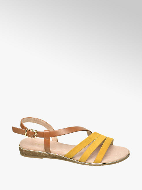 Graceland żółto-brązowe sandały damskie Graceland zapinane na paseczek