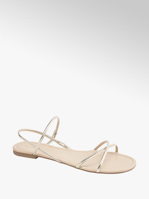 Graceland złote sandałki damskie Graceland z cienkimi paseczkami