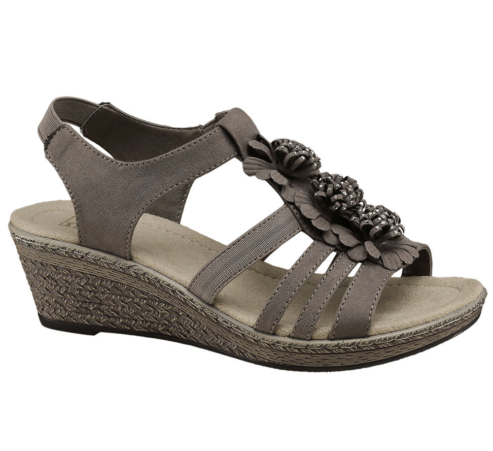 deichmann schuhe easy street damen keil sandalette neu braun ebay. Black Bedroom Furniture Sets. Home Design Ideas