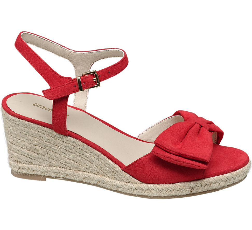 Graceland Damen Keil Sandalette rot Neu   eBay c1d38b8d29