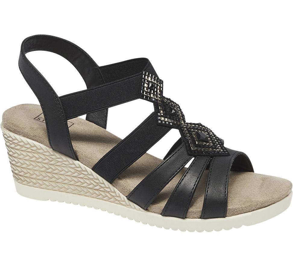 Street Schwarz Details Sandalette Damen Keil Easy Neu Zu 5j4RLA