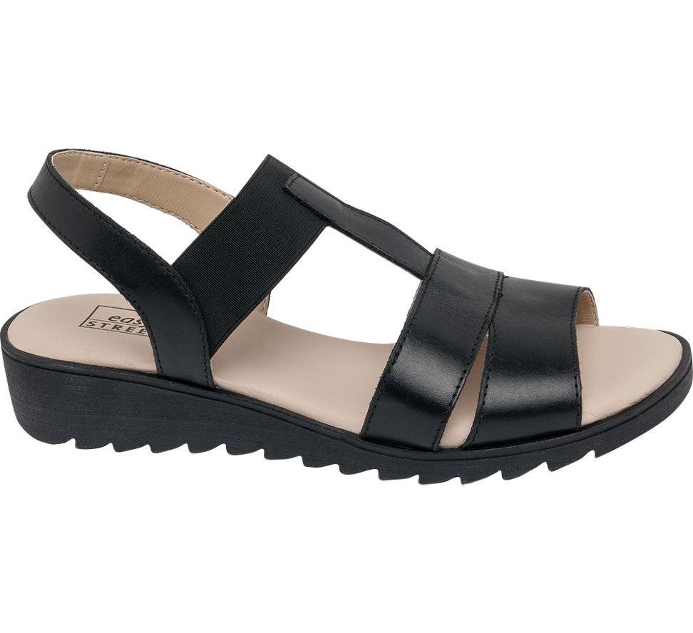 Details about Deichmann Shoes Easy Street women Ladies Black Leather Sandals black New