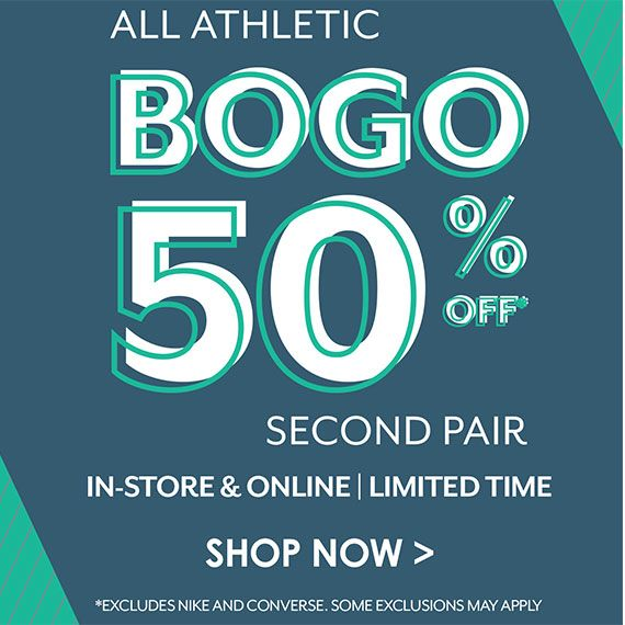 Off Broadway Shoes. All Athletics BOGO 50% OFF Second Pair. In-Stores and Online. Limited Time. Watch Now.